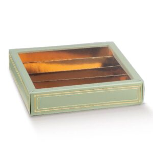 10 Schokoladeboxen in Salbeigrün mit Sichtfenster und goldenem Einsatz (145 x 145 x 35 mm)