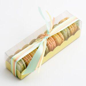 10 Macaron Schachteln transparent mit Einsatz in Hellgelb (190 x 50 x 50mm)