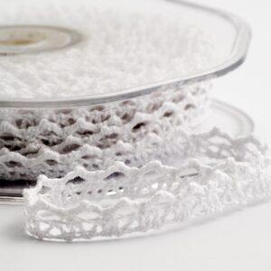 Baumwolle Spitzenband gezackt weiß – 6mm x 10m