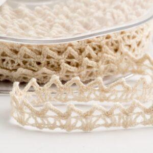 Baumwolle Spitzenband gezackt creme – 6mm x 10m