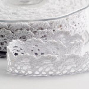 Baumwolle Spitzenband rund creme – 15mm x 10m