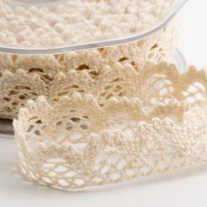 Baumwolle Spitzenband rund weiß – 15mm x 10m
