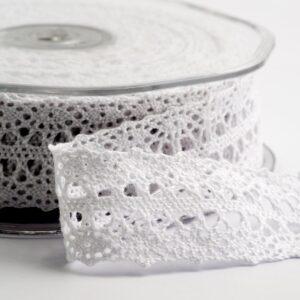Baumwolle Spitzenband breit weiß – 22mm x 10m