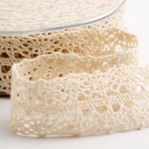 Baumwolle Spitzenband breit creme – 22mm x 10m
