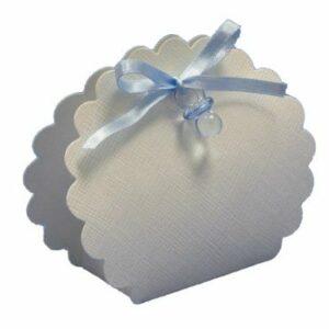 10 STÜCK Gastgeschenk zur Taufe – BORSA ROTONDA weiß, Schnuller hellblau, gefüllt