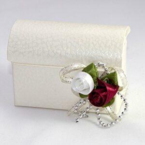 10 STÜCK Gastgeschenk zur Hochzeit – Truhe Pelle Bianco, Rosenbouquet, gefüllt