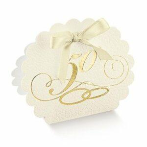 10 Stück Kartonage Pelle Bianco -50- gold, 5,8 x 4 x 8,5 cm