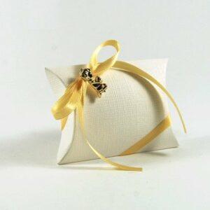 10 Stück Gastgeschenk Kommunion, BUSTA mit Satinband gelb und Junge gold