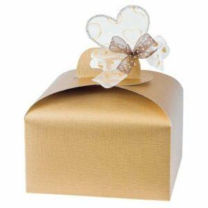 10 Stück Kartonage Tortina groß Seta gold, 24,5 x 24,5 x 13 cm
