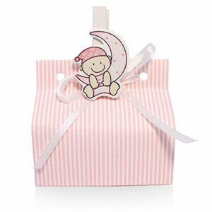 10 Boxen CHIC mit Streifen rosa zur Geburt, 70x40x30 cm