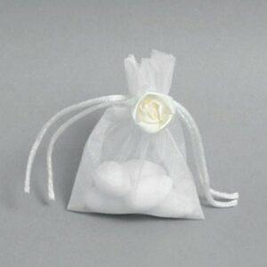 10 Stück Organzabeutel creme, Satinblüte oben, 8×10 cm