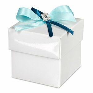 10 Stück Kartonage Bianco weiß glänzend mit Deckel, 5 x 5 x 5 cm