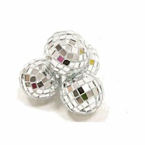 4 Stück Mini-Discokugel klein, Silber, ca. 3 cm