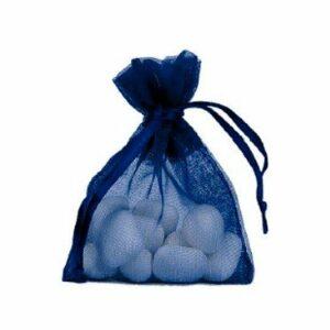 10 Stück Gastgeschenk Organzasäckchen gefüllt, dunkelblau, 8 x 10 cm