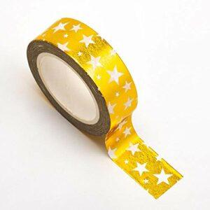 Washi Tape selbstklebend Gold glänzend mit weißen Sternen 15mm x 10m Rolle