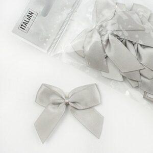 5 cm Satinschleife (Selbstklebend) 12 Stück – Silber