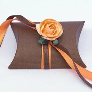 10 Gastgeschenke braun gefüllt, Band orange braun, Blüte orange pfirsich