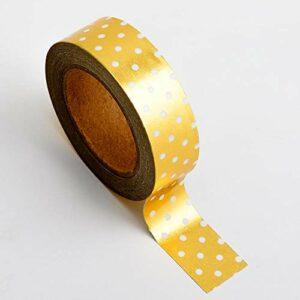 Washi Tape selbstklebend Folie glänzend Gold mit weißen Punkten 15mm x 10m Rolle