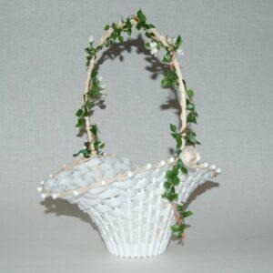 Blumenkinderkörbchen weiß, -Rosenranke- weiß