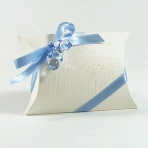 10 STÜCK Gastgeschenk zur Taufe – BUSTA Seta weiss mit Schnuller hellblau, gefüllt