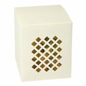 10 Stück Kartonage Traforata Seta elfenbein, 10 x 10 x 11 cm