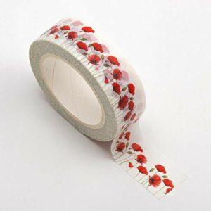 Washi Tape selbstklebend Wei0 mit Mohnblumen 15mm x 10m Rolle