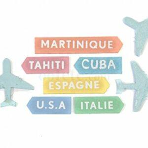 Streudeko Mini Flugzeuge & Reiseziele aus Holz, 9 Stück