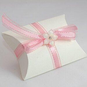 10 STÜCK Gastgeschenk zur Hochzeit – Busta weiß, Band rosa, Facettenblüte weiß, gefüllt