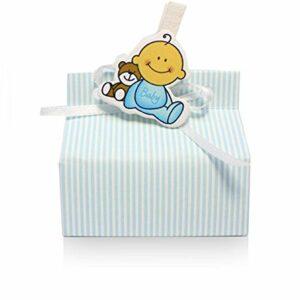 10 Boxen CHIC mit Streifen hellblau zur Geburt, 70x40x30 cm