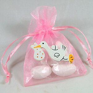 10 Stück Gastgeschenk Taufe, Organzabeutel rosa, Storch weiß, gefüllt