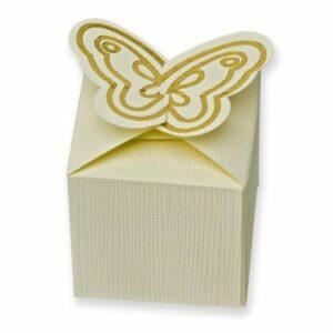 10 Stück Kartonage Schmetterling Seta elfenbein, 5 x 5 x 5 cm