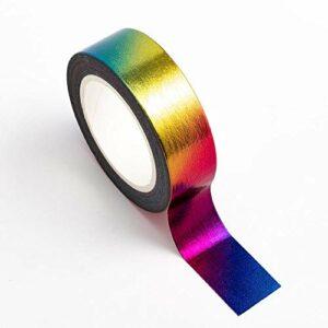Washi Tape selbstklebend Folie glänzend Regenbogen bunt 15mm x 10m Rolle