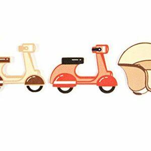 "Streudeko ""Roller – Scooter"" Mini Motor-Roller & Helme aus lackiertem Holz, 6 Stück, ca. 3,0cm"