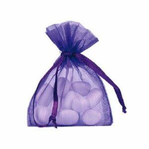 10 Stück Gastgeschenk Organzasäckchen gefüllt, lila, 8 x 10 cm