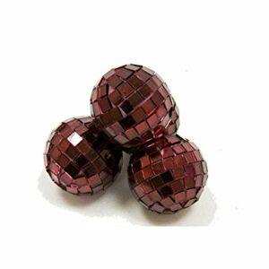 4 Stück Mini-Discokugel klein, Bordeaux, ca. 3 cm