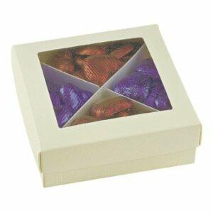 10 St Kartonage Seta elfenb. unterteilt mit transp. Deckel, 12 x 12 x 4 cm