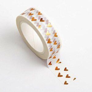 Washi Tape selbstklebend Weiß mit Herzen in Kupfer 15mm x 10m Rolle