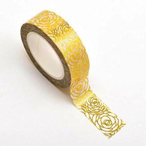 Washi Tape selbstklebend Weiß mit Rosen in Gold 15mm x 10m Rolle