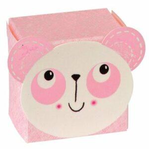 10 Stück Kartonage Baby Bär rosa, 3,5 x 3,5 x 2,5 cm