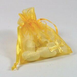 10 Stück Gastgeschenk Organzasäckchen gelb mit Kreuzen gold