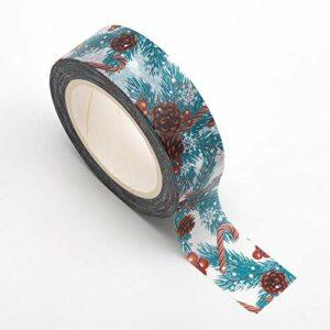 Washi Tape selbstklebend Tannenzapfen und Beeren 15mm x 10m Rolle
