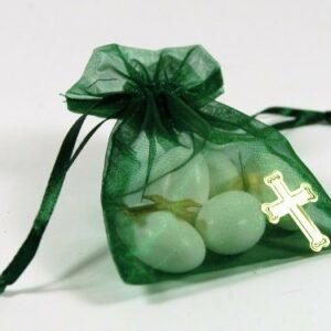 10 Stück Gastgeschenk Organzasäckchen grün mit Kreuzen gold