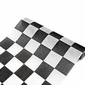 Retro-Tischläufer mit Karomuster schwarz-Weiss 27 cm x 5 cm