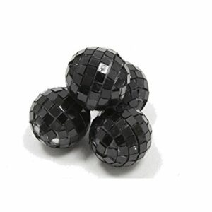 4 Stück Mini-Discokugel klein, Schwarz, ca. 3 cm