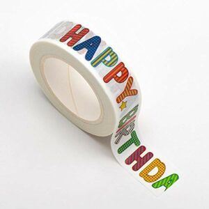 Washi Tape selbstklebend Happy Birthday bunt 15mm x 10m Rolle