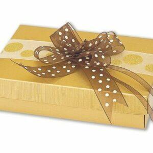 10 Stück Kartonage Rechteck mit Deckel Seta gold, 16,5 x 11 x 4 cm