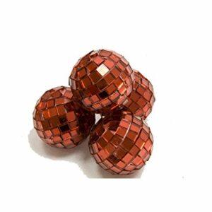 4 Stück Mini-Discokugel klein, Rot, ca. 3 cm