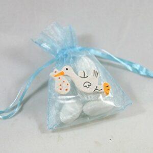 10 Stück Gastgeschenk Taufe, Organzabeutel hellblau Storch weiß, gefüllt