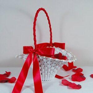 Blumenkinderkörbchen weiss -Edel- rot, 24 x 17 cm- Blumenkinderkorb Streukörbchen zur Hochzeit, Korb Geflochten