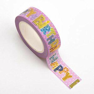 Washi Tape selbstklebend Happy Birthday bunt auf rosa Band 15mm x 10m Rolle